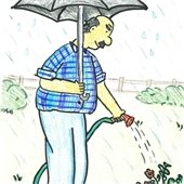 Man watering in rain