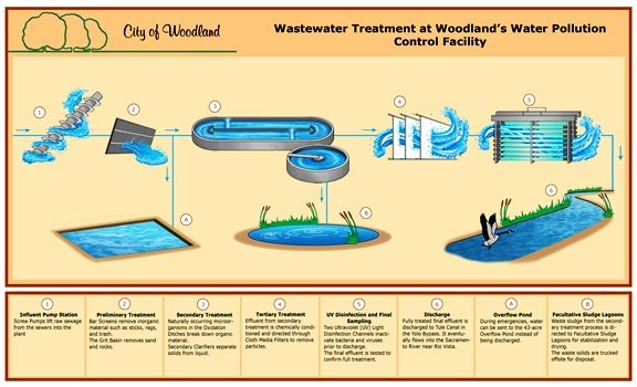 Woodland Wastewater Treatement Pollution Flow Chart