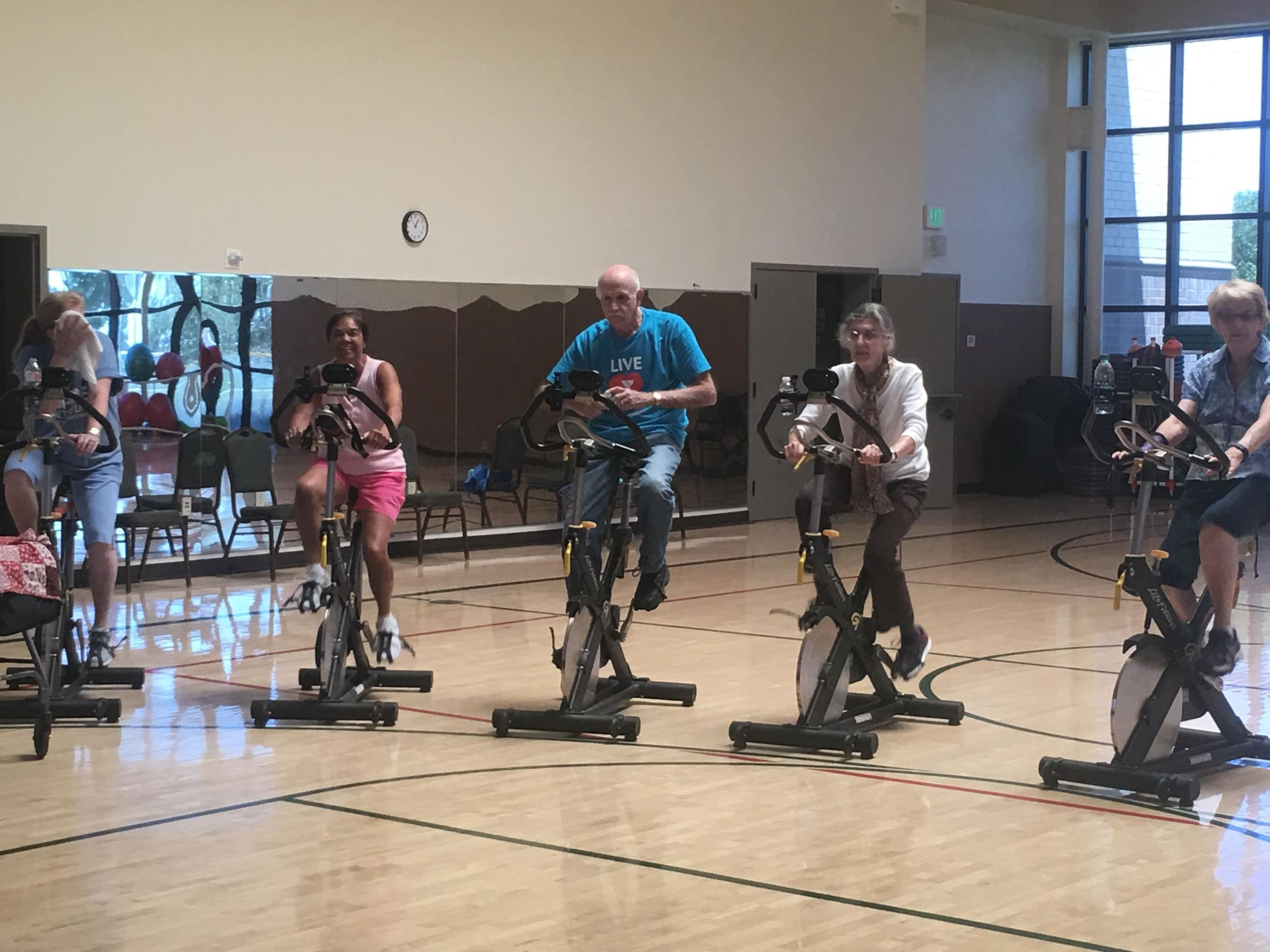 Exercise class on bikes