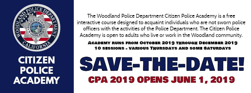 SAVE THE DATE Citizens Police Academy 2019
