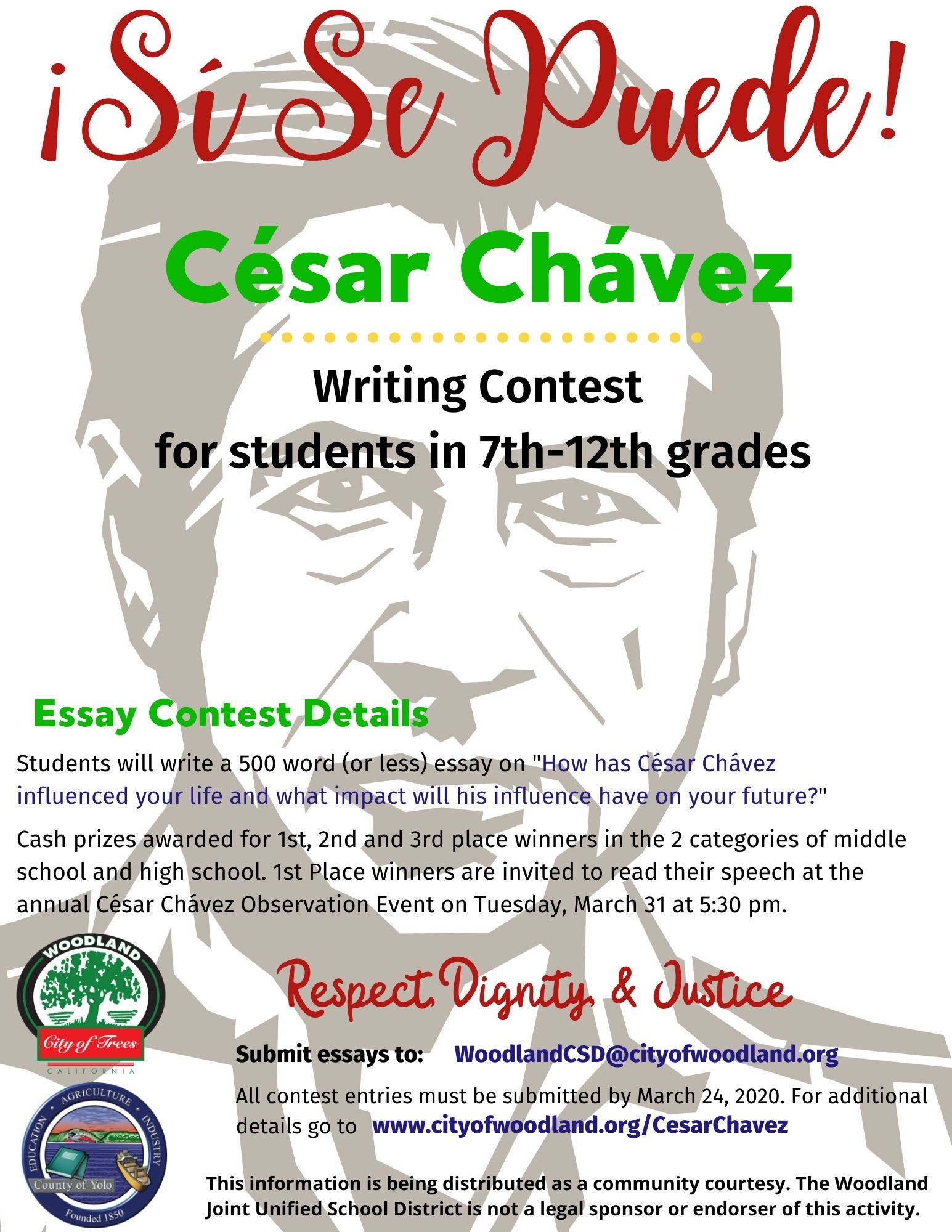 Cesar Chavez Writing Contest Flyer
