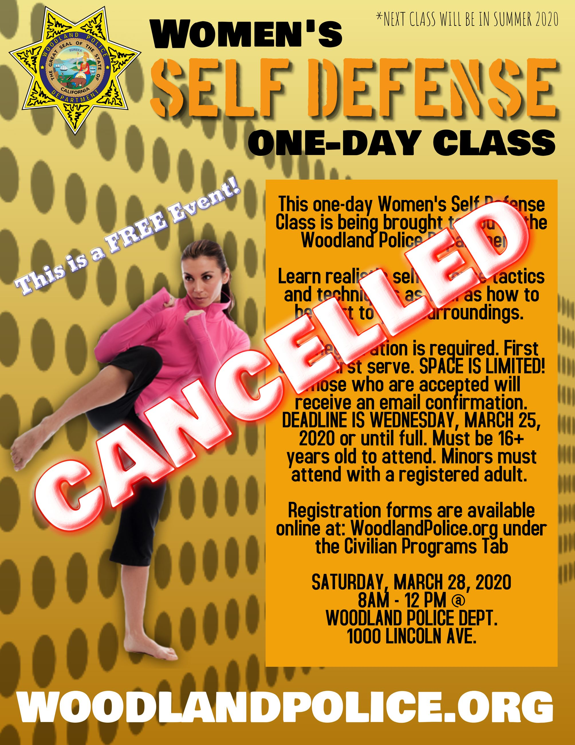 Self Defense- MARCH 2020- CANCELLED