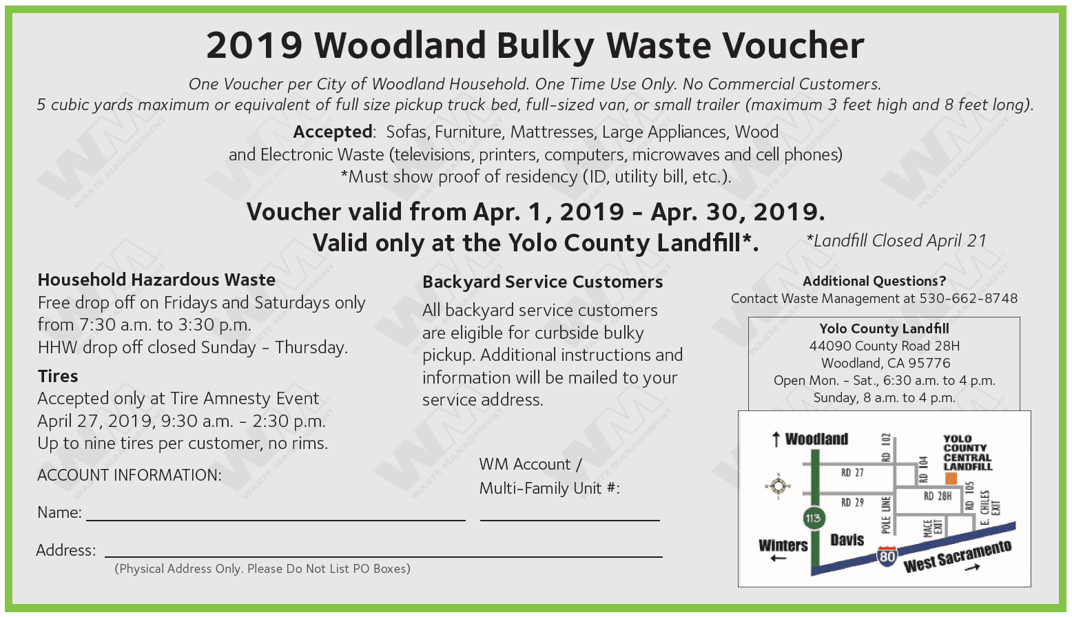 2019 Bulky Waste Voucher
