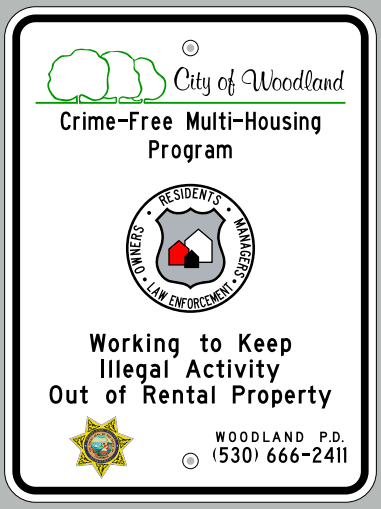 Crime Free Multi-Housing Street Sign